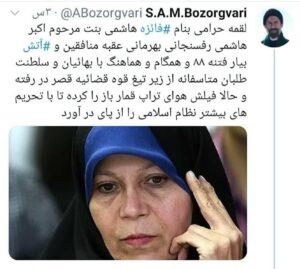 داغ های مجازی : واکنش تند بزرگواری به اظهارات فائزه هاشمی